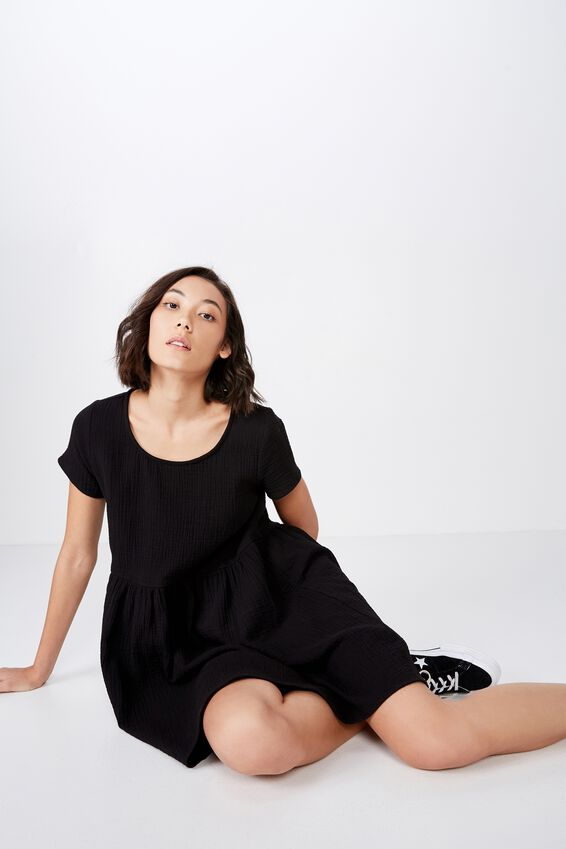 Short Sleeve Babydoll Dress, OLD BLACK