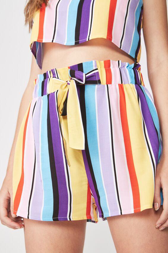 Paperbag Woven Short, ELENA STRIPE