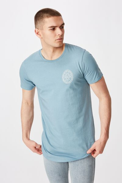 Curved Graphic T Shirt, WASHED SEA BLUE/LOCK OUT