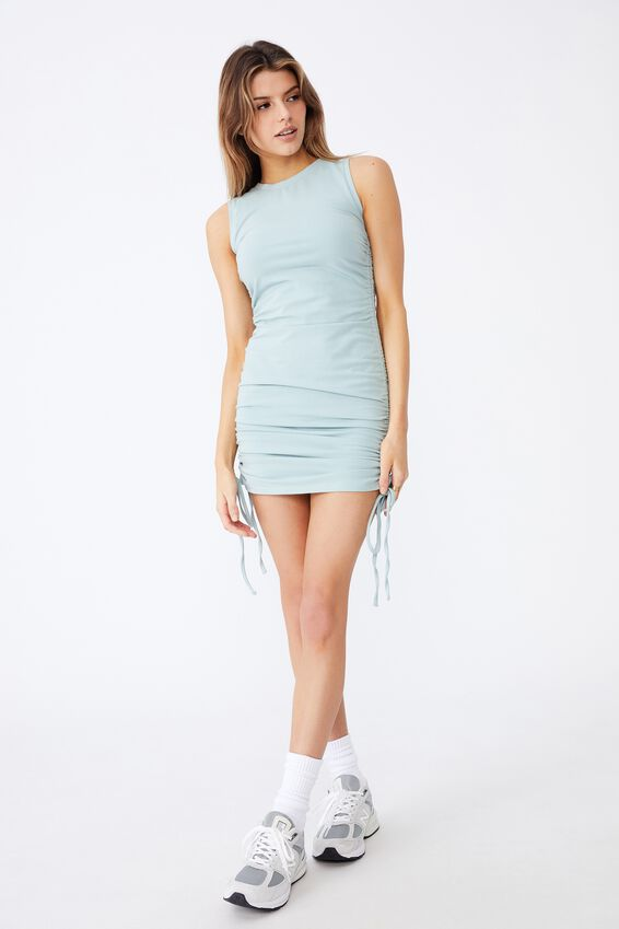 Ruched Sleeveless Dress, ETHER