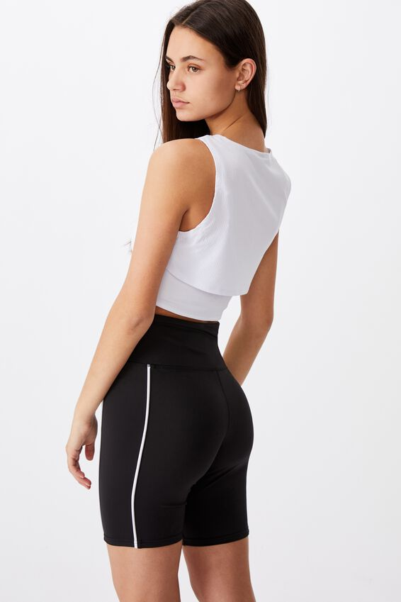 High Waisted Printed Bike Short, BLACK/NYC