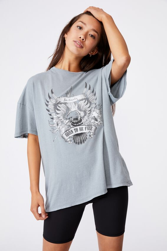 Super Relaxed Graphic Tee, WASHED GREY/BORN TO BE FREE