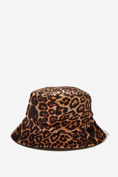 Velour Bucket Hat, LEOPARD