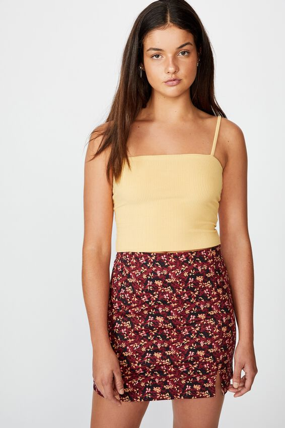 Double Split Mini Skirt, ABSTRACT RUBY FLORAL