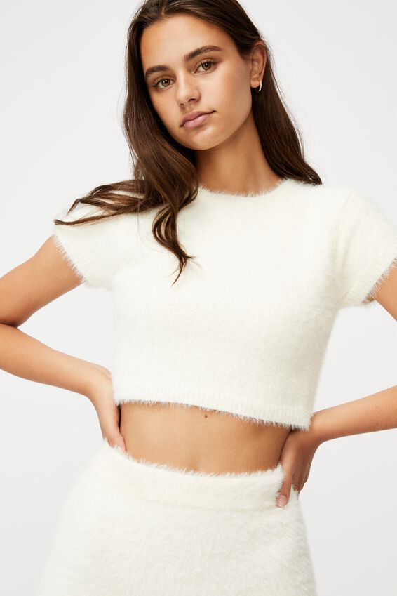 Fluffy Knit Baby Tee, IVORY