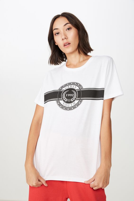 Relaxed Graphic T Shirt, WHITE/BELVEDERE