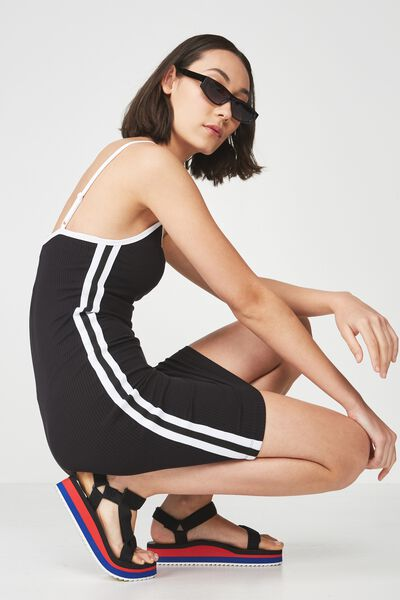 Rib Strappy Scoop Neck Mini Dress With Tape Side, BLACK_TAPE
