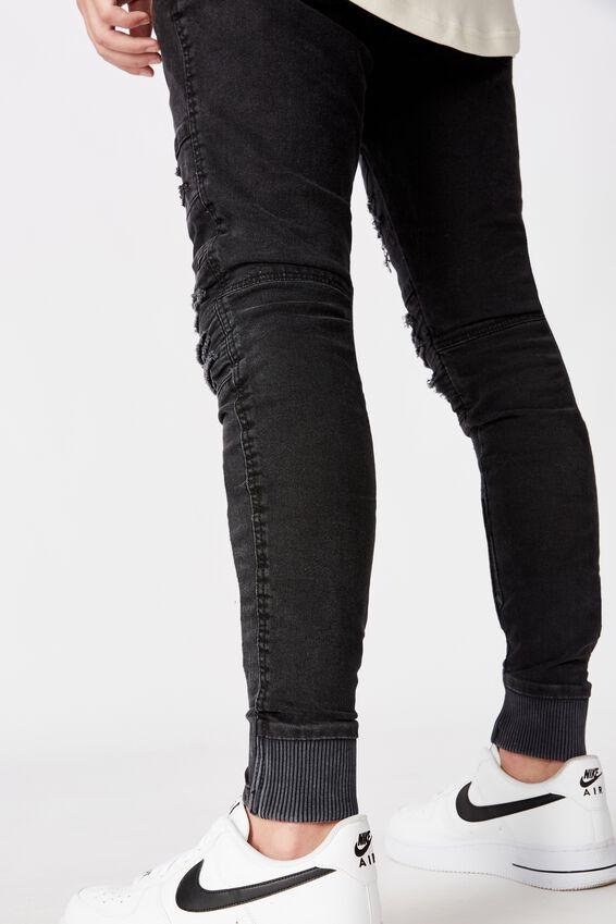 Semi Cuffed Denim Jean, WASHED BLACK DIST