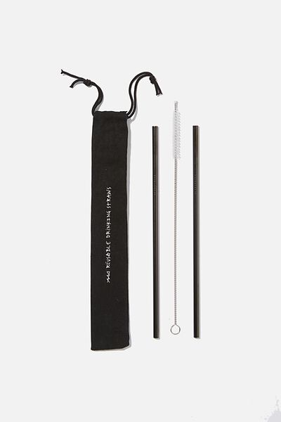 Metal Straw Pack, CHARCOAL W/BRUSH