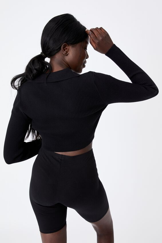 Ultra Crop Long Sleeve Top, BLACK