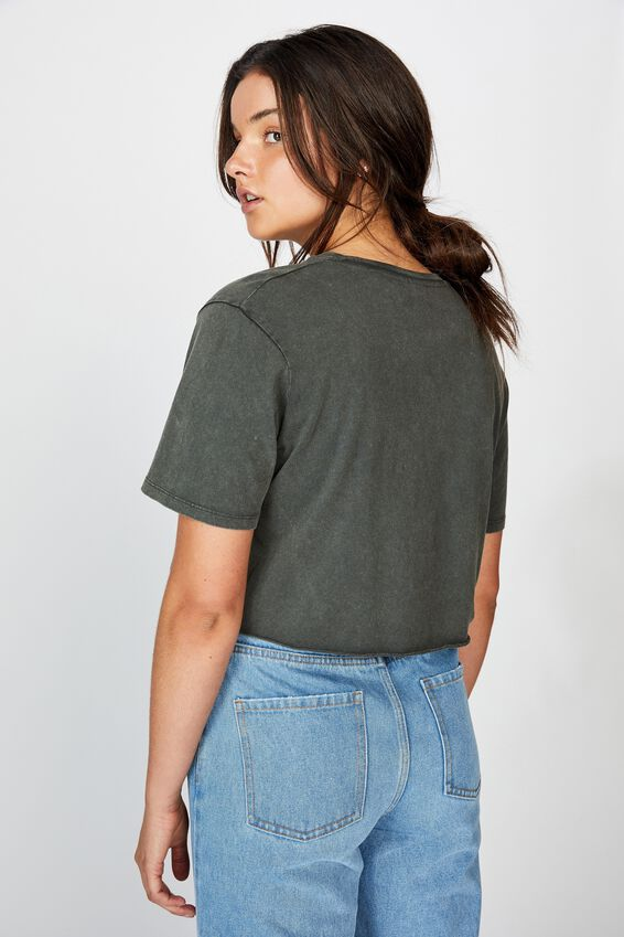Short Sleeve Raw Edge Crop T Shirt, WASHED ASPHALT/BLACK SNAKE