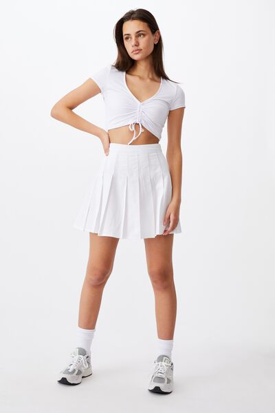 Pleated Skirt, WHITE