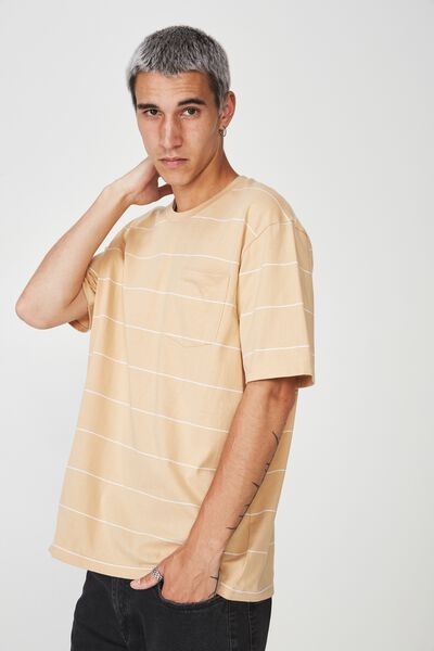 Stripe Pocket T Shirt, HAZELNUT/WHITE STRIPE