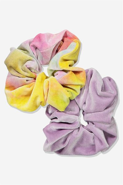 Planet Factorie Scrunchies, BRIGHT TIE DYE_NEON