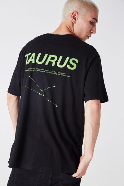 Taurus Horoscope T Shirt, BLACK/GREEN