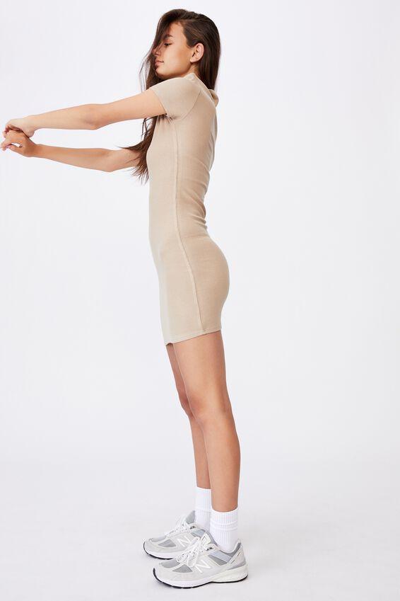 Short Sleeve Collared Rib Dress, HUMUS