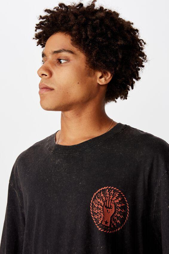 Regular License T Shirt, WASHED BLACK/RATM POLICE BADGE