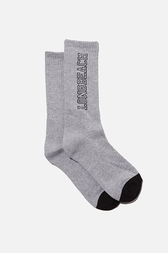 Retro Ribbed Socks, NEP GREY MARLE LONG BEACH