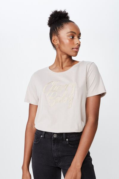 Relaxed Graphic T Shirt, LATTE/CHERRY BABY