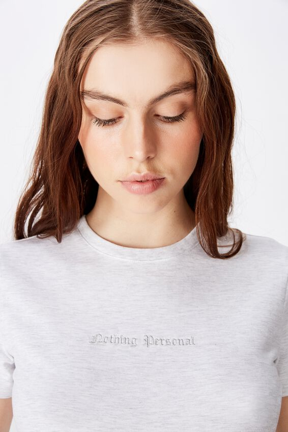 Fitted Graphic T Shirt, SILVER MARLE/NOTHING PERSONAL