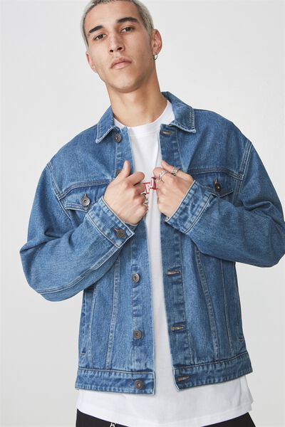 Denim Trucker Jacket, BRIGHT BLUE