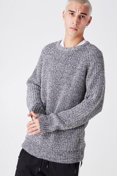 Chunky Raglan Crew Knit, PEPPER TWIST