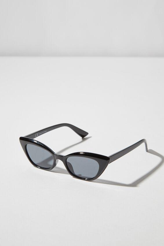 Kitty Cateye Sunglasses, S.BLK_SMK