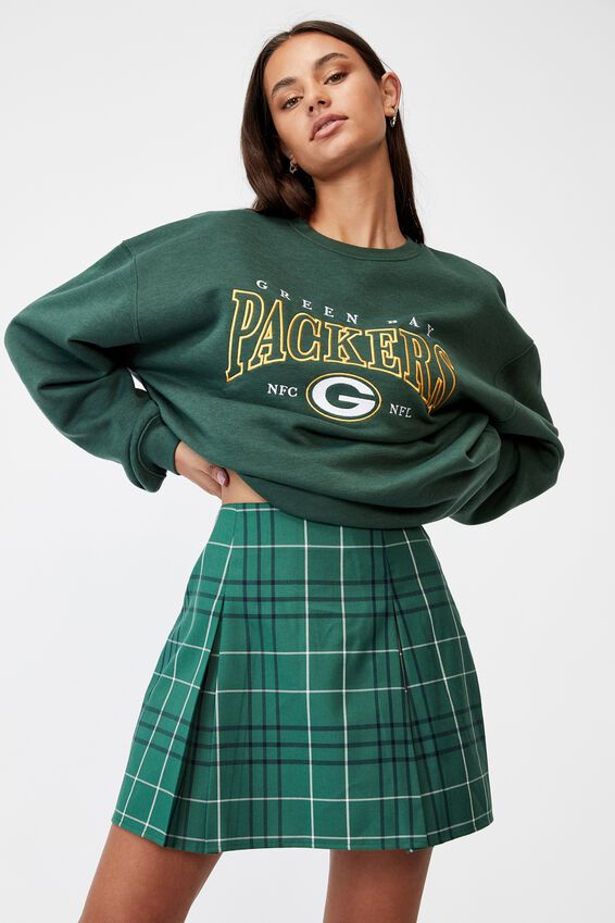 Box Pleat Skirt, VARSITY CHECK_HUNTER GREEN