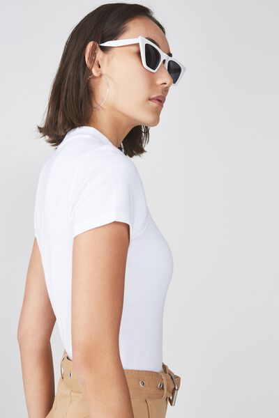Short Sleeve Ribbed Tshirt, OPTIC WHITE