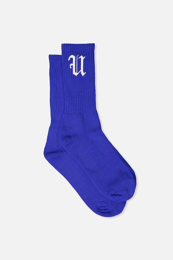 Retro Ribbed Socks, SOLID COBALT FU