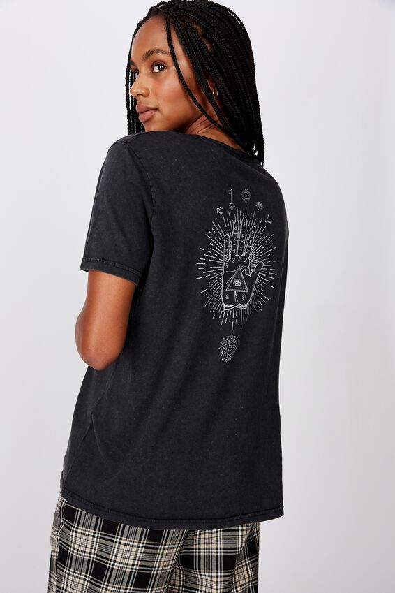 Relaxed Graphic T Shirt, YOUR FATE/WASHED BLACK