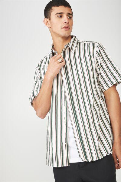 Ss Oversized Shirt, GREEN MULTI STRIPE