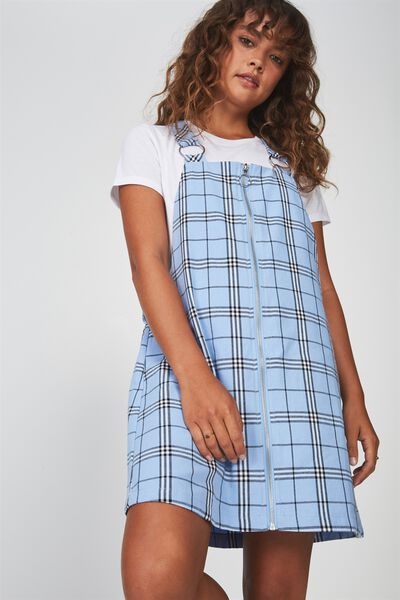 Zip Front Dress 2, BLUE CHECK