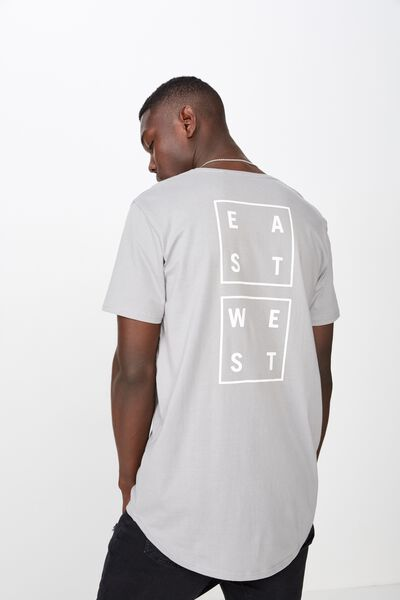Curved Graphic T Shirt, SLEET/EAST & WEST