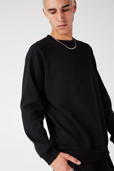 Crew Raglan Fleece, BLACK