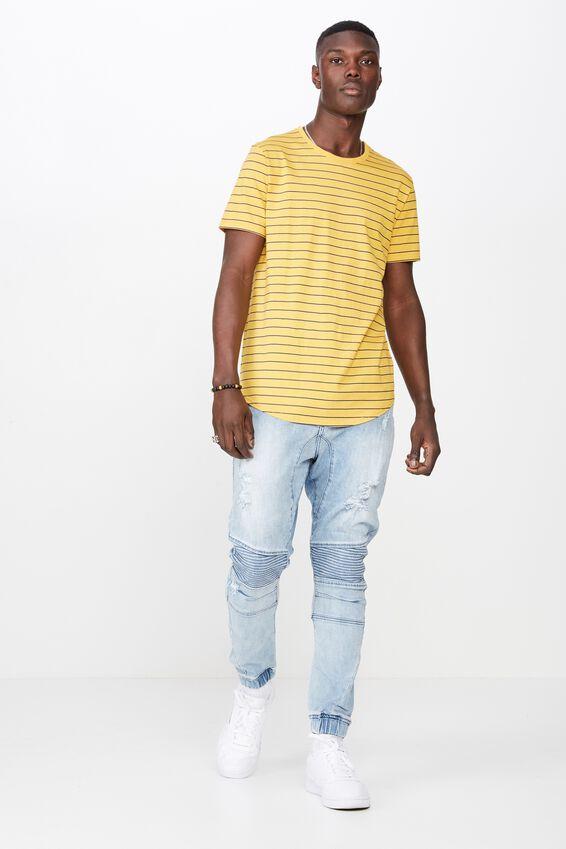 Curved Stripe T Shirt, GOLDEN ROD/WASHED NAVY STRIPE