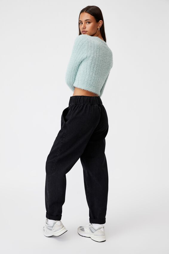 Fluffy Knit Crop Jumper, ETHER
