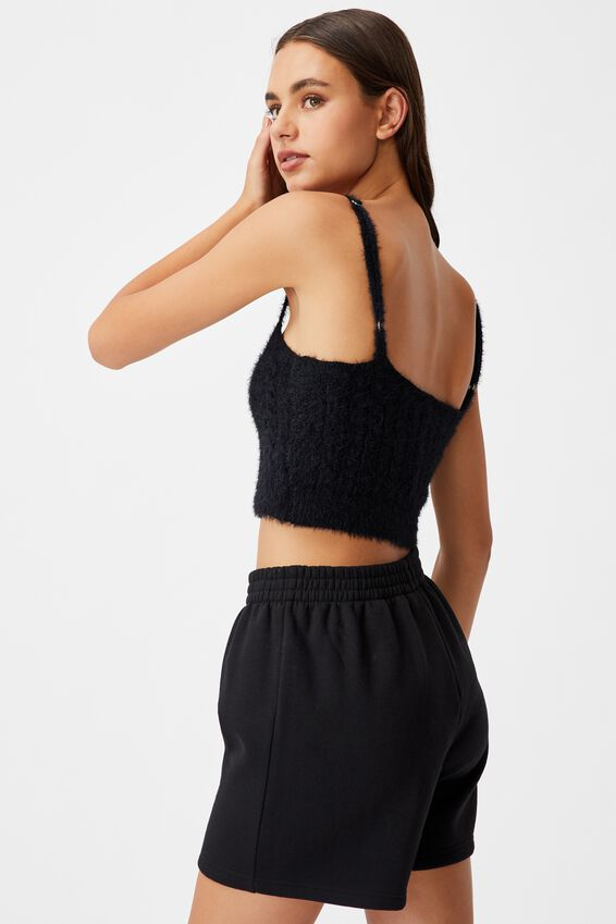 Fluffy Knit Cable Cami, BLACK
