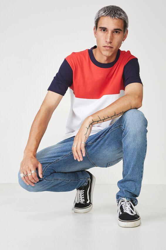 Slim Panelled T Shirt, NAVY/RED/WHITE
