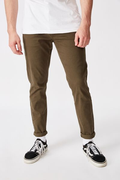 Washed Slim Leg Pant, WASHED KHAKI