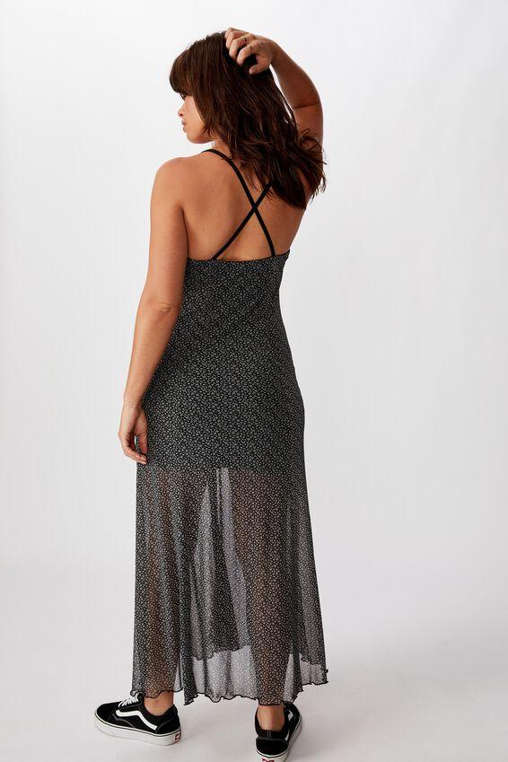 Mesh Maxi Dress, ELSIE DITSY_BLK GREY
