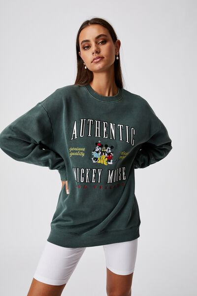 Lcn Disney Oversized Graphic Crew, LCN DIS WASHED TREKKING GREEN/MICKEY MOUSE