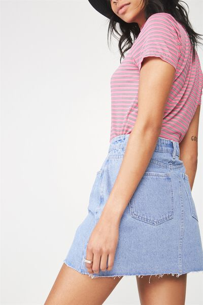 Classic Denim Skirt 3, VIBRANT BLUE