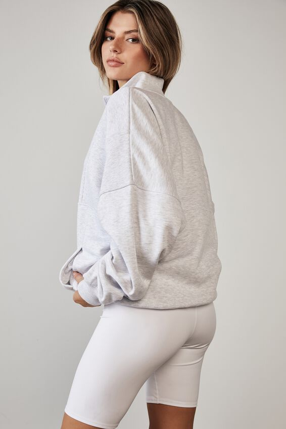 Qtr Zip Spliced Funnel Neck Crew, SILVER MARLE