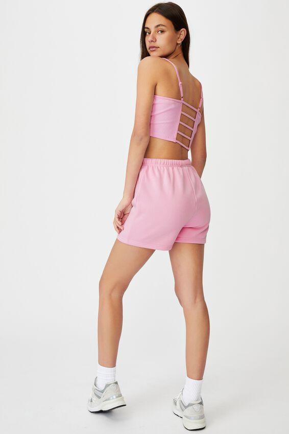 Super Slim Fitted Fleece Short, BABE PINK