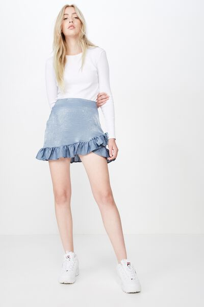 Satin Ruffle Skirt, FLINSTONE