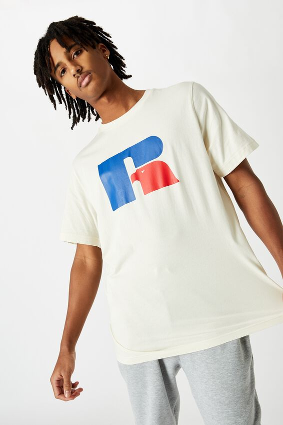 Russell Athletic Crew T Shirt, WHITE/EAGLE R CREW