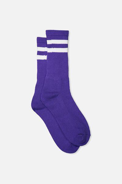 Retro Ribbed Socks, PURPLE_WHITE STRIPE