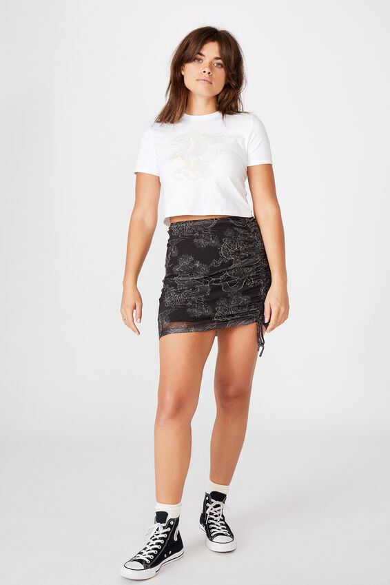Pull Front Mesh Skirt, FLORAL DRAGON
