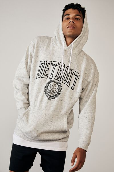Elite Oversized Hoodie, GREY MARLE FLECK/DETROIT